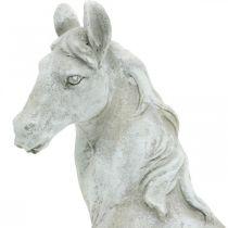 Pferdekopf Büste Deko-Figur Pferd Keramik Weiß, Grau H31cm