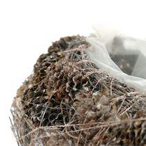 Pflanzenherz aus Zapfen 29cm x 20cm geweißt 2St