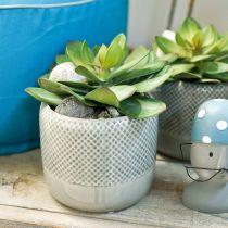 Pflanzgefäß aus Keramik, Übertopf Flechtmuster, Keramiktopf Ø13cm 3St