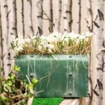 Pflanzgefäß Tasche mit Henkel Metall Grün, Weiß gewaschen H20cm