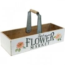 Pflanzkiste, Blumendeko, Holzkiste zum Bepflanzen, Blumenkiste Nostalgie-Optik 41,5×16cm