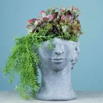 Pflanzkopf Büste aus Beton zum Pflanzen Grau H23,5cm
