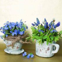Pflanztopf Übertopf Tasse mit Unterteller Vintage Grau, Natur Ton Ø8cm H6,5cm 4St
