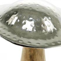 Deko Pilz Metall Holz Silbern, Natur Deko-Figur Herbst 18cm