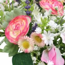 Kunstblumenstrauß mit Ranunkeln und Bellis Rosa, Weiß Ø20cm