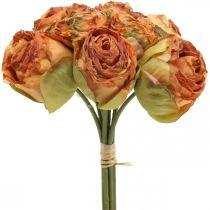 Rosenbund, Seidenblumen, Kunstrosen Orange, Antik-Optik L23cm 8St