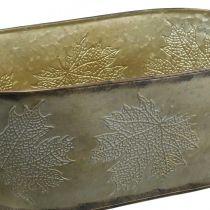 Herbsttopf, Pflanzschale mit Blättern, Metalldeko Golden L38cm H15cm