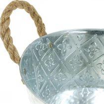 Dekoschale Silber mit Griffen Metall Pflanzschale Pflanzkübel Ø21cm