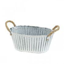 Pflanzgefäß mit Henkeln, Blumenschale aus Metall, Deko-Schale zum Bepflanzen L28cm