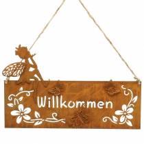 """Schild """"Willkommen"""" Metall Rost 25×15,5cm 2St"""