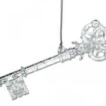 Christbaumschmuck Schlüssel, Advent, Baumanhänger mit Glitzer Transparent/Silbern L14,5cm Kunststoff 12St