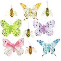 Schmetterling, Biene Deko am Clip 4cm - 8cm 9St