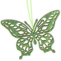 Dekohänger Schmetterling Grün Glitter8cm 12St