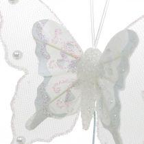 Schmetterlinge mit Perlen und Glimmer, Hochzeitsdeko, Federschmetterling am Draht Weiß