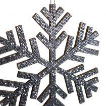 Schneeflocke Grau zum Hängen Ø8cm - Ø12cm 9St