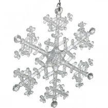 Deko-Schneeflocke, Winterdeko, Eiskristall zum Hängen, Weihnachten H10cm B9,5cm Kunststoff 12St