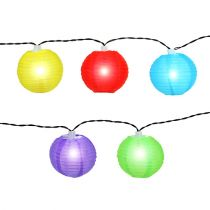 Solar-Lampionkette LED bunt 4,5m 10 Birnen Kaltweiß