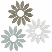 Sommerblumen Holzdeko Blumen Braun, Hellgrau, Weiß Streudeko 72St