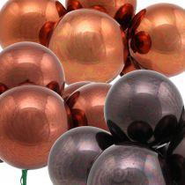 Mini Weihnachtskugel Rot, Braun Glas Spiegelbeeren Ø40mm 32St