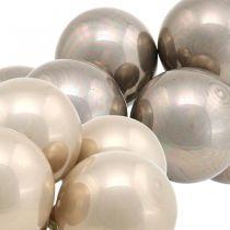 Mini Weihnachtskugel Creme, Grau Glas Spiegelbeeren Ø40mm 32St