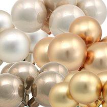Mini Weihnachtskugel Gold, Creme, Grau Spiegelbeeren Ø40mm 32St
