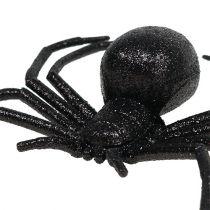 Spinne Schwarz 16cm mit Glimmer