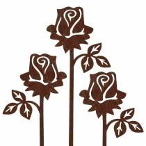 Metallstecker Rose Edelrost Metall 20cm × 8cm 12St