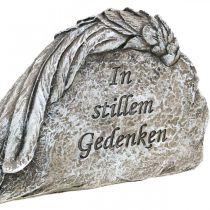 Grabschmuck Engelsflügel mit Spruch Kunststein Grau 16cm 4St