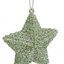 Stern mit Glimmer Mintgrün 7,5cm 12St