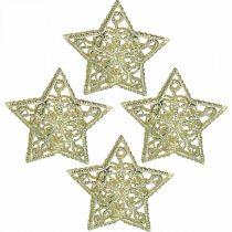 Streudeko-Sterne, Lichterketten-Aufsatz, Weihnachten, Metalldeko Silbern Ø6cm 20St