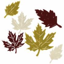 Streudeko Herbstblätter Filz Bordeaux/Creme/Grün 72St