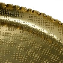 Tablett Orient-Optik, Dekoteller Golden, Metalldeko Ø18,5cm