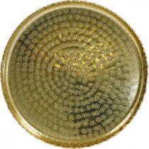 Metalltablett rund, Dekoteller Golden, orientalische Deko Ø30cm