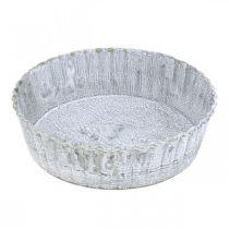Metallteller Biskuitform, Dekotablett rund, Tischdeko Weiß gewaschen Ø14cm H4cm