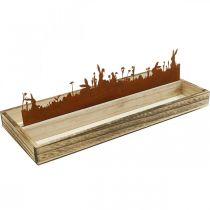 Dekotablett Osterwiese, Frühlingsdeko, Holztablett Edelrost 35×15cm