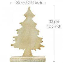Deko Tannenbaum Holz Weiß gewaschen Tischdeko Advent 32×20×5,5cm