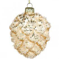 Zapfen zum Hängen, Baumschmuck, beschneite Dekozapfen Golden H9,5cm Ø8cm Echtglas 3St