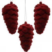Deko-Zapfen beflockt, Herbstdeko, Tannenzapfen Rot, Advent H8,5cm Ø4,5cm 8St