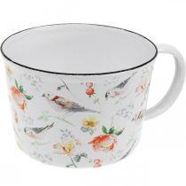 Pflanztasse Vögel / Blumen, Übertopf, Deko-Tasse aus Emaille, Pflanzgefäß Ø10cm H7cm