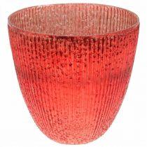 Kerzenglas Windlicht Rot Glas Deko Vase Ø21cm H21,5cm