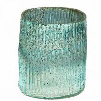 Teelichtglas Blau Windlicht Glas Tischdeko 12cm