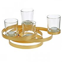 Adventskerzenhalter Metall Rund Golden mit 4 Gläsern 34×26×18cm