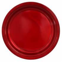 Dekoteller aus Metall Rot mit Glasureffekt Ø38cm