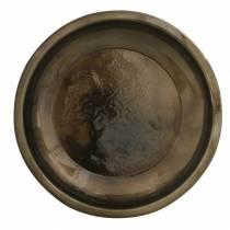 Dekoteller aus Metall Bronze mit Glasureffekt Ø23,5cm