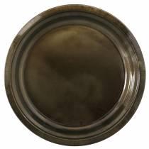 Dekoteller aus Metall Bronze mit Glasureffekt Ø40cm