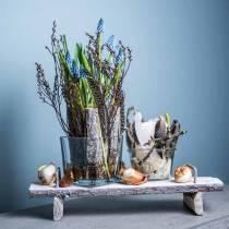 Tischdeko, Tablett mit Füßen, Holztablett, Dekotablett mit Baumrinde 40cm