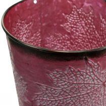 Dekotopf zum Bepflanzen, Blecheimer, Metalldeko mit Blattmuster Weinrot Ø14cm H12,5cm