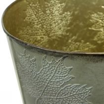 Pflanztopf, Herbstdeko, Metallgefäß mit Blättern Golden Ø25,5cm H22cm