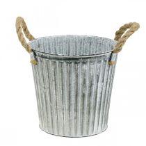 Deko-Topf zum Bepflanzen, Metalltopf mit Henkeln, Metalldeko Shabby Chic Ø21,5cm