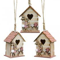 Vogelhäuschen zum Hängen, Frühling, Deko-Vogelhaus mit Hase, Osterdeko 4St